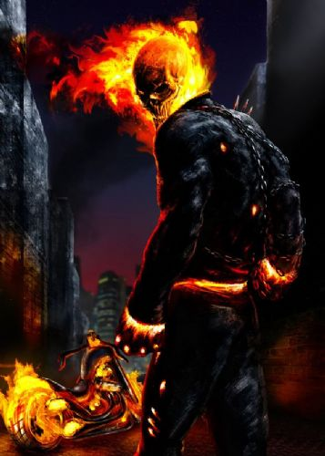 GHOST RIDER - PAINT - Portrait canvas print - self adhesive poster - photo print